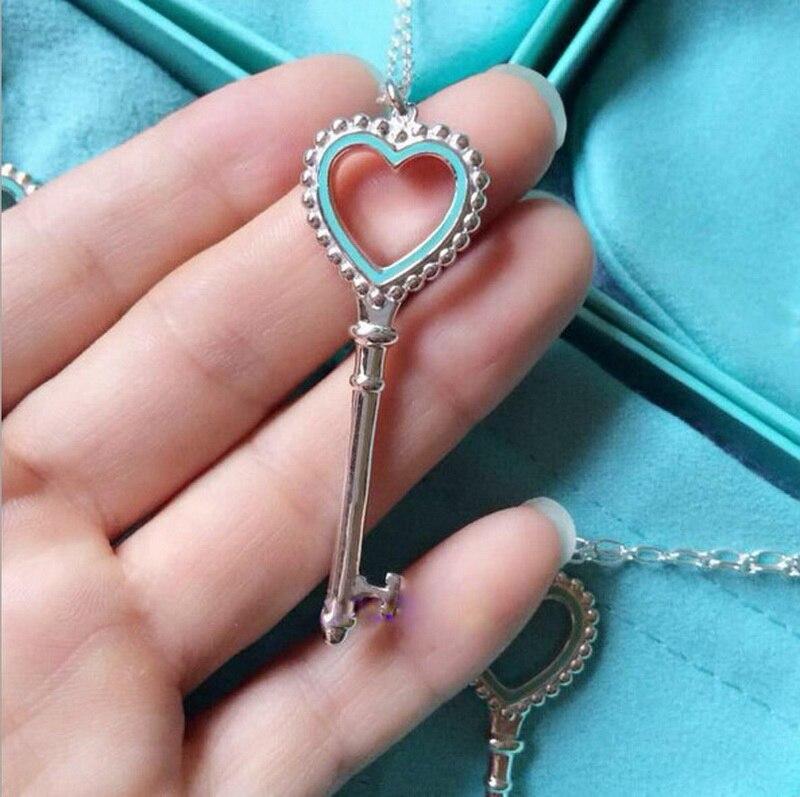 Émail bleu amour coeur clé pendentif collier femmes 100% solide réel argent Sterling 925 gratuit chaîne et boîte Top qualité Bijou cadeaux