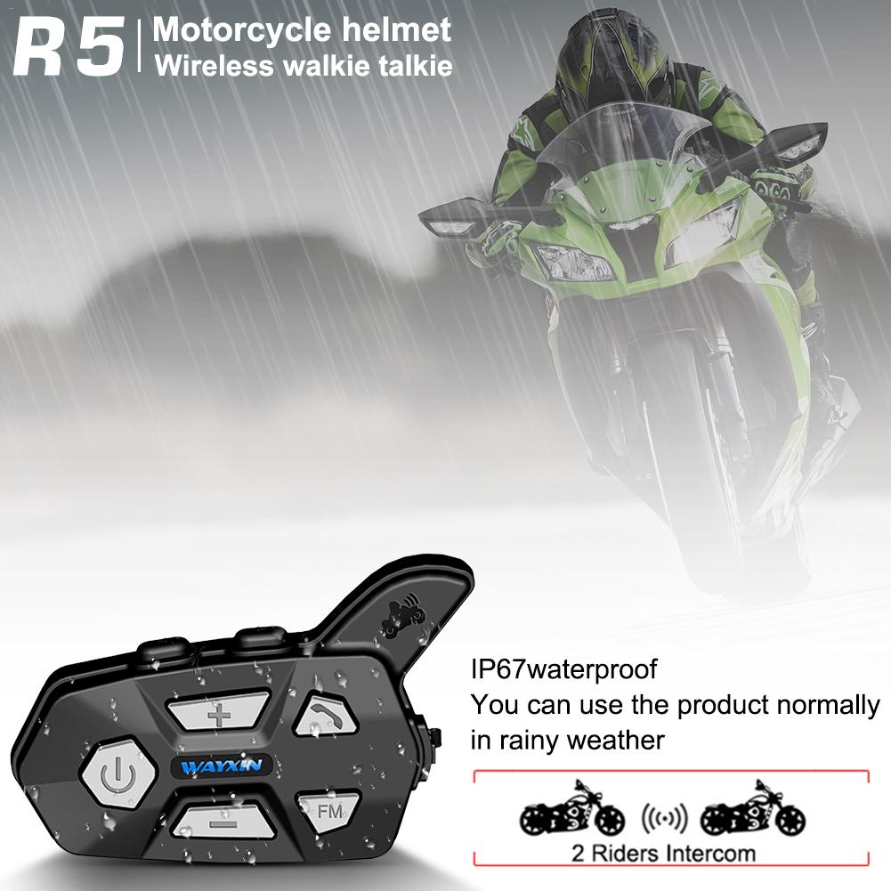 Helmet Headsets Bluetooth 2 Riders Intercom For Motorcycle R5 Motorcycle FM Bt Wireless Intercomunicador Interphone Mp3