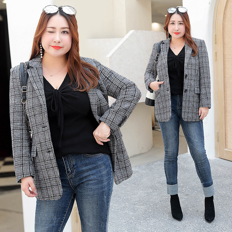2018 Autumn Winter New Fat MM Hairy Suit Grid European and American Lady Womens Coat