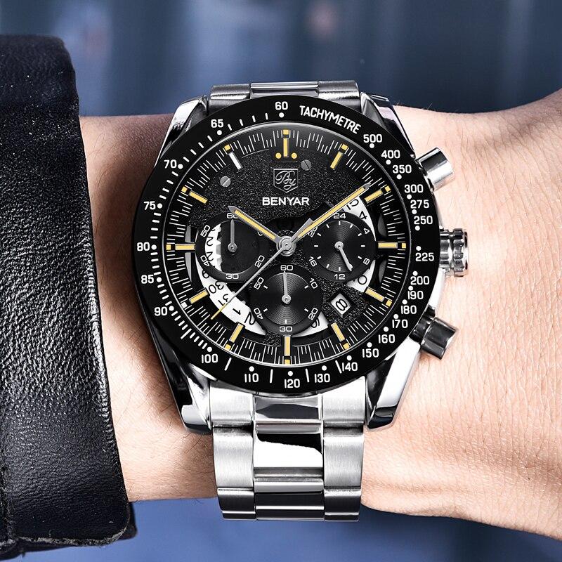 BENYAR Top Luxury Brand Watch Men Sport Watch Chronograph Quartz Business Waterproof Mens Watches Relogio Masculino