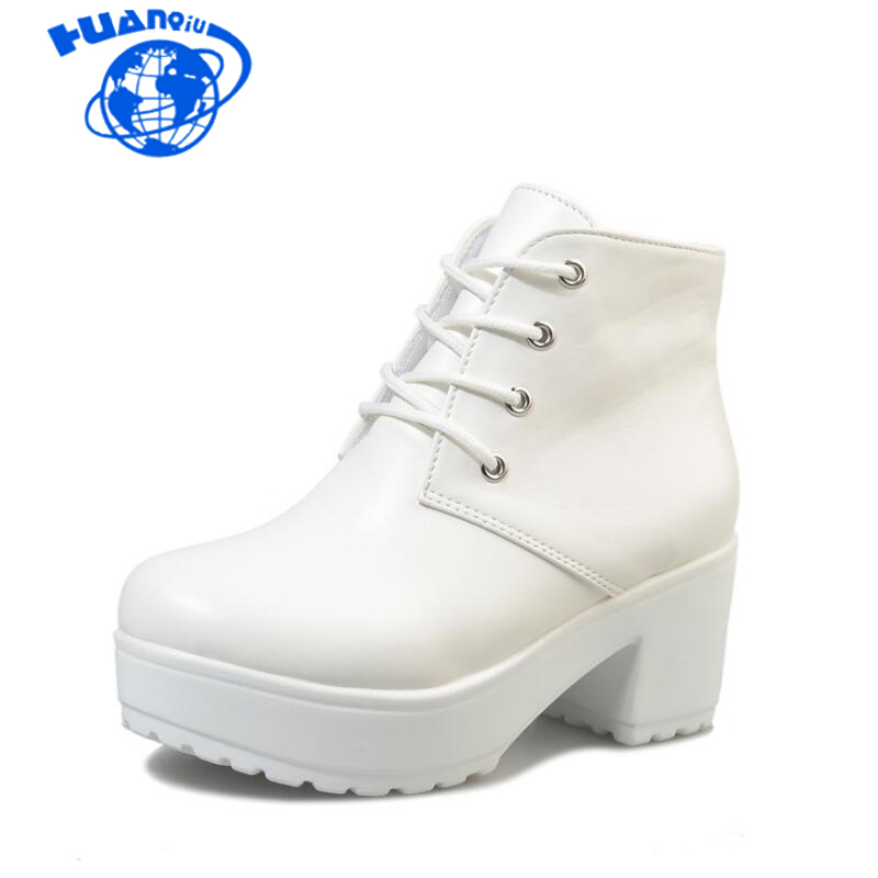 HUANQIU Women Boots 2018 New Fashion Black&White Punk Rock Lace Up Platform Heels Ankle Boots Thick Heel Platform Shoes wyq270