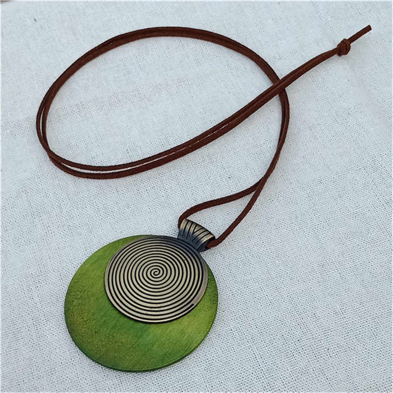 Vintage woman choker necklace Wholesale Fashion Jewelry Wooden Round lines  pendant Long necklace for women collares green