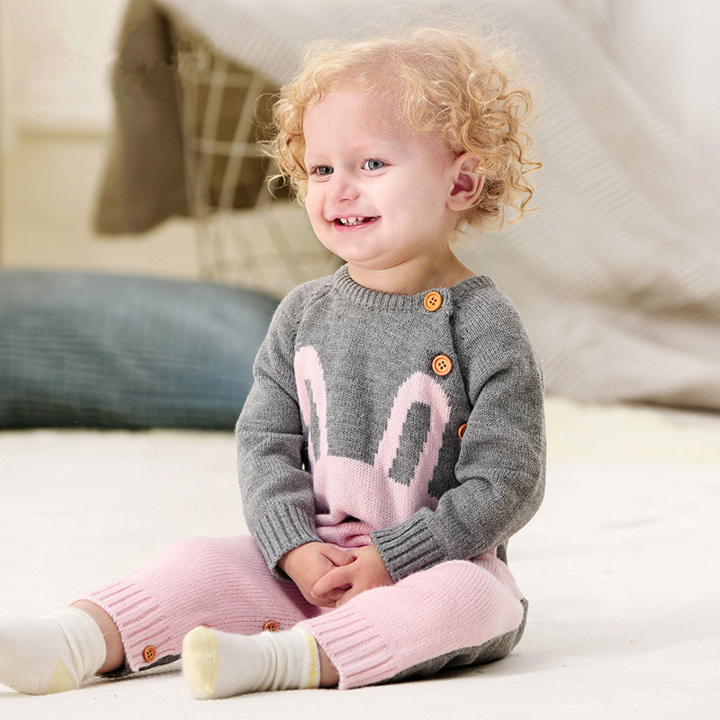 Baby Rompers Autumn Cartoon Rabbit Newborn Girls Sweaters Knitted Toddler Clothing Set Infant Jumpsuit Winter Baby Boy Clothes puseky 2017 infant romper baby boys girls jumpsuit newborn bebe clothing hooded toddler baby clothes cute panda romper costumes