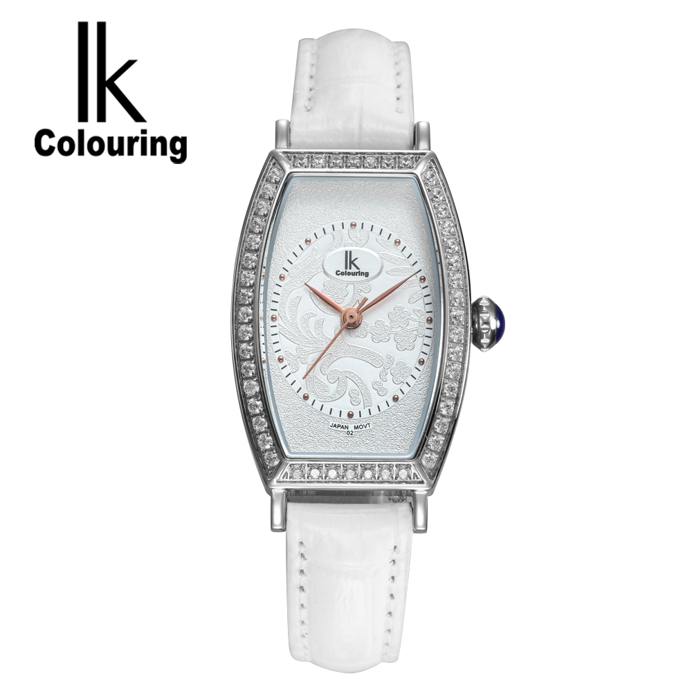 купить IK Luxury Women's Girl Sapphire Tonneau Quartz Watches Day Genuine Leather Wristwatch Gift Orignal Box Free Ship по цене 3229.88 рублей