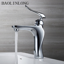 BAOLINLONG bathroom faucet cold and hot chrome water Crane mixer tap brass basin faucet luxury new arrival double handle bathroom antique brass faucet basin crane tap hot and cold water tap home wate cock jp10605