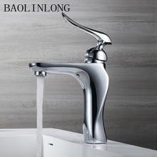 BAOLINLONG bathroom faucet cold and hot chrome water Crane mixer tap brass basin