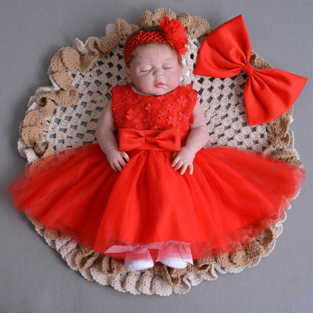 newborn girl christmas dress hair band baby wedding dresses lace bow girl party dress high