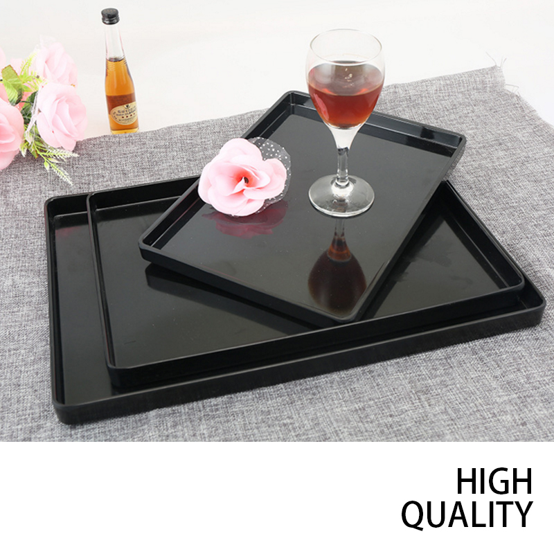 Wood grain smooth continental anti-slip black and white rectangular plastic plate beverage family service tray kitchen cutlery