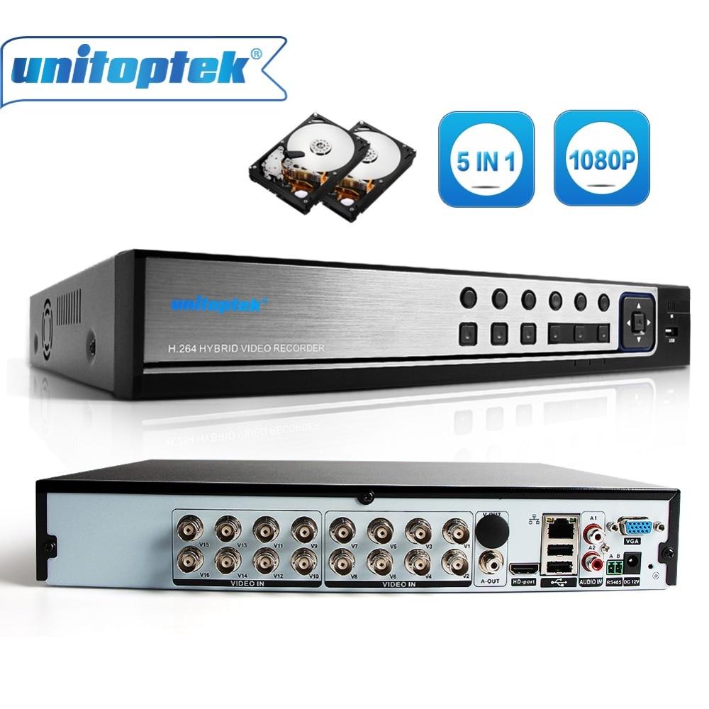 Hybrid 5 In 1 16CH AHD DVR Recorder 1080P DVR 16 Channel 2 SATA HDD 1920*1080 CCTV CVI,TVI DVR 16CH Hybrid DVR Recorder System автопланшет dvr