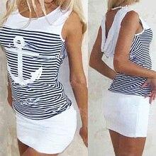 Women's Fashion Sexy Anchor Stripe Sleeveless O-neck Skirts Bodycon Mini Dress
