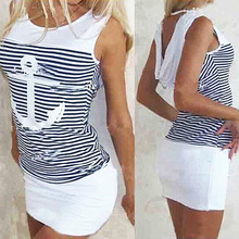 Women s Fashion Sexy Anchor Stripe Sleeveless O neck Skirts Bodycon Mini Dress