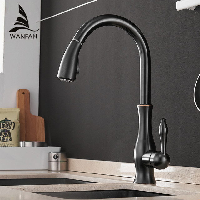 Kitchen Faucets Black Single Handle Pull Out Kitchen Tap Single Hole Handle Swivel 360 Degree Water Mixer Tap Mixer Tap 866011