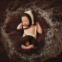 Bambino appena nato Fotografia Crochet Hat + Pants Outfit Puntelli Infantili Piccolo Primo Compleanno Del Bambino Servizio Fotografico Accessori Puntelli Vestiti