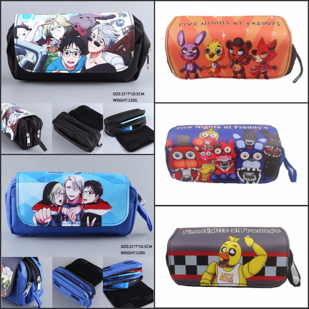 anime Yuri on ice Five Nights at Freddy's pencil bag Double Pencil bag Stationery Cosmetic Make-up Bags Cases 6 style julia peters tang pivot points five decisions every successful leader must make