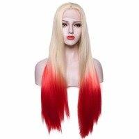 Lady Ombre Koronki Przodu Peruka Długie Blond na Czerwony Dwa Tony kolor Światło Cap Darg Królowa Peruki Syntetyczne Peruki Dla Białych Kobiet 26 cali