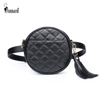 Funmardi Fashion Round Women's Belt Bag Quilted Tassel Waist Bag Pu Leather Chest Woman Bag Fanny Pack Small Phone Bag Wlhb1948