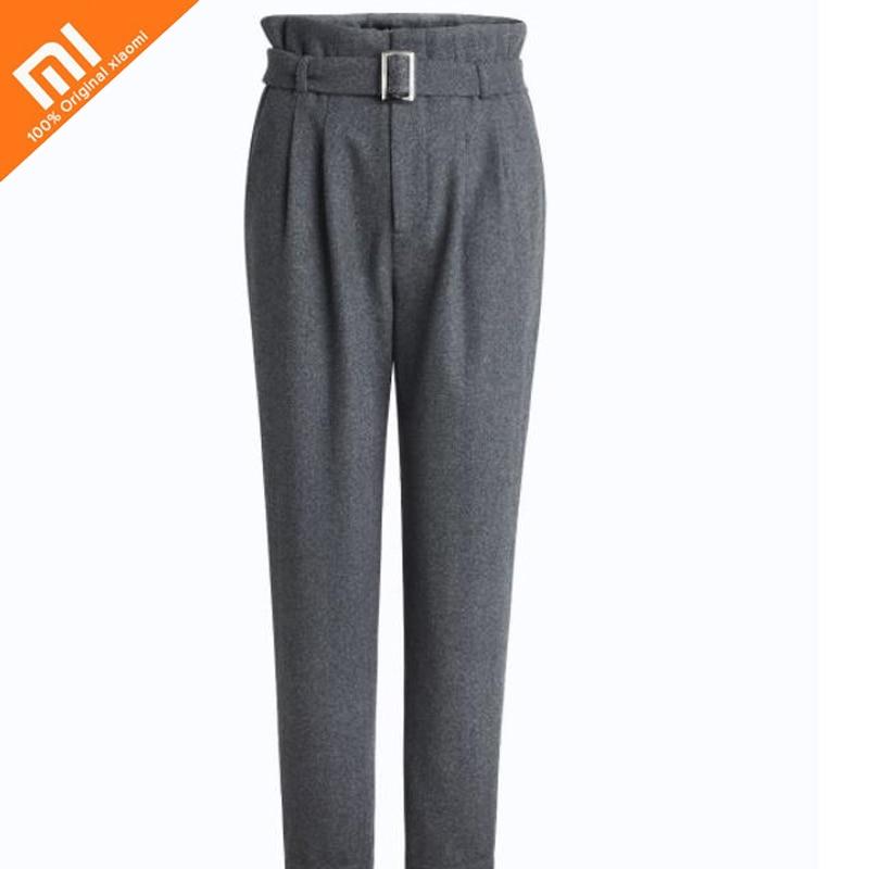 Original xiaomi mijia wool belt paper bag pants retro pants type thick warm high waist slimming ladies trousers high quality HOT все цены