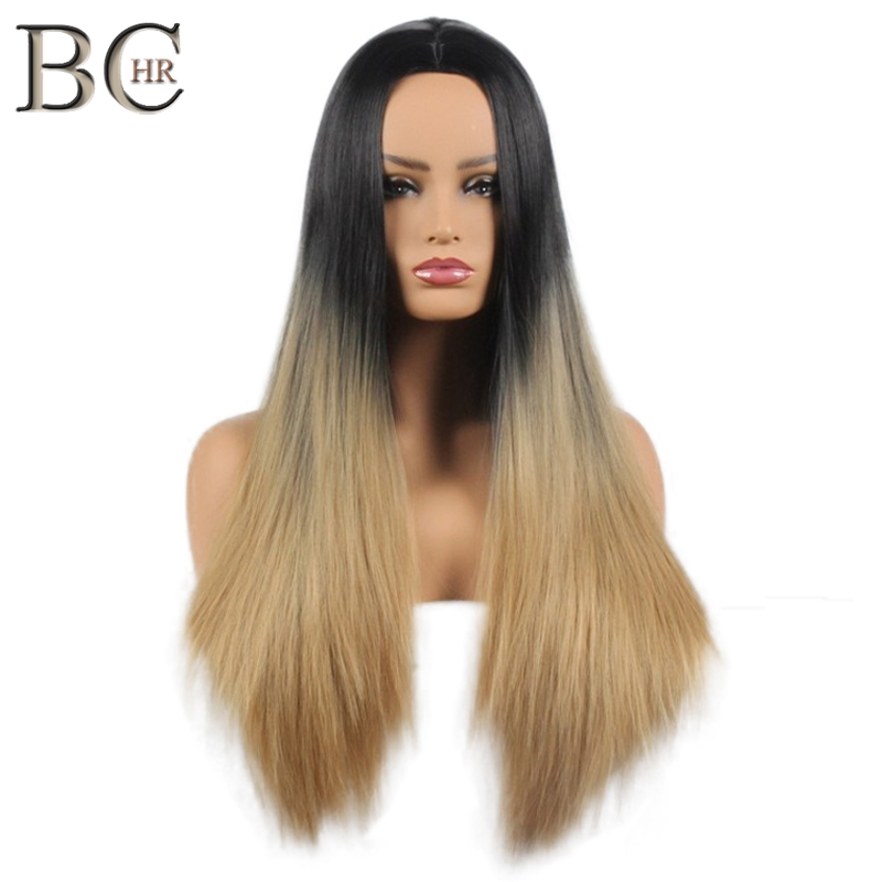 BCHR Long 2 Tone Ombre Brown Ash Blonde Synthetic Wig for Women Middle Part Short Straight Hair High Temperature Cosplay Hair
