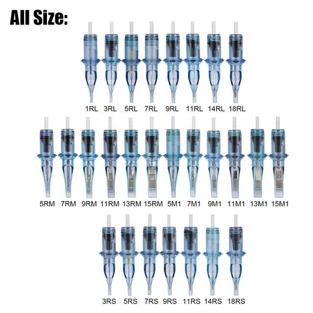 100 개/대 일회용 메이크업 문신 멸균 카트리지 바늘 rl/rm/m1/rs 문신 microblading 펜 바늘 문신 기계에 대 한