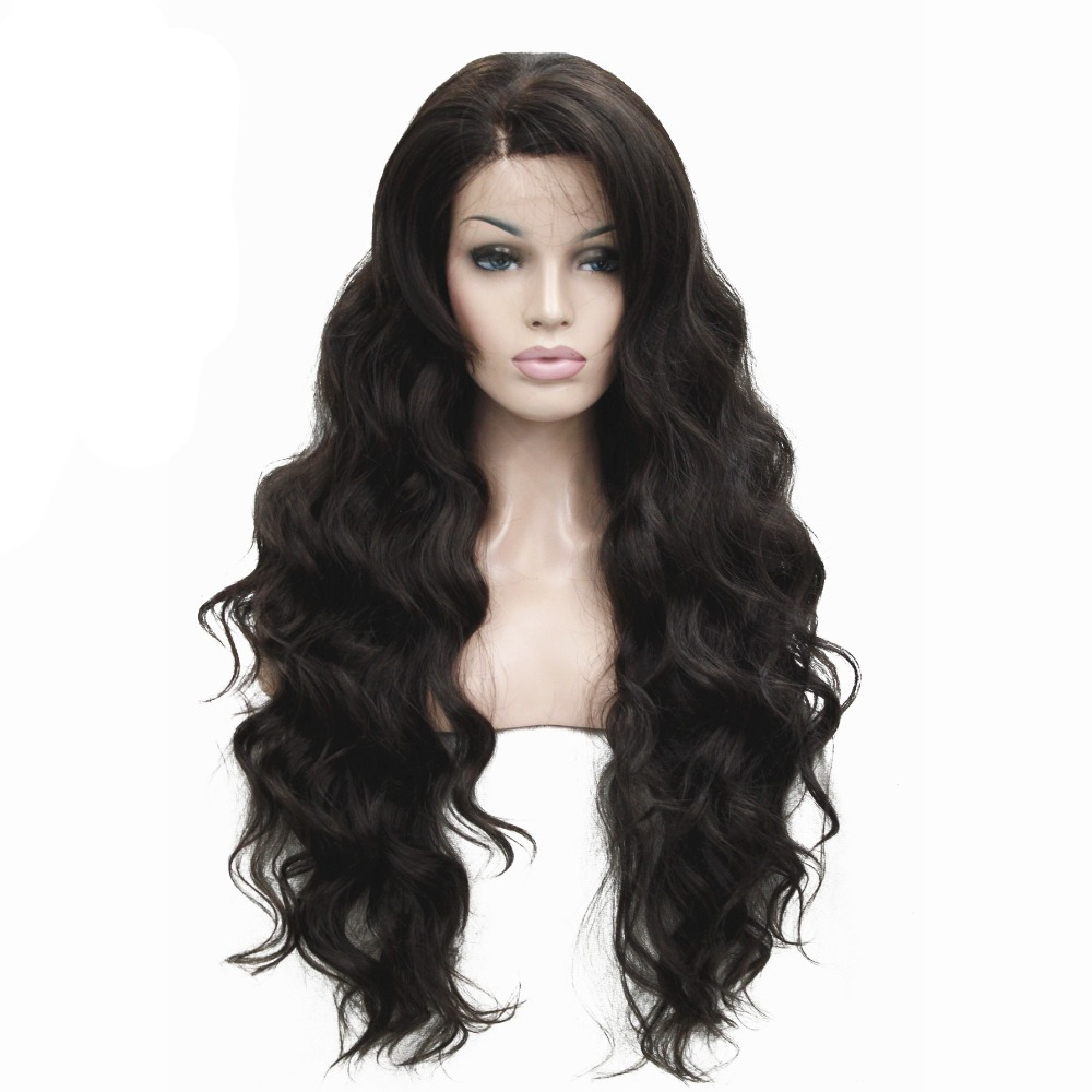 Women s Front Lace Wigs Very Long Wavy Black Brown 30 inches Synthetic Wig 5 Color