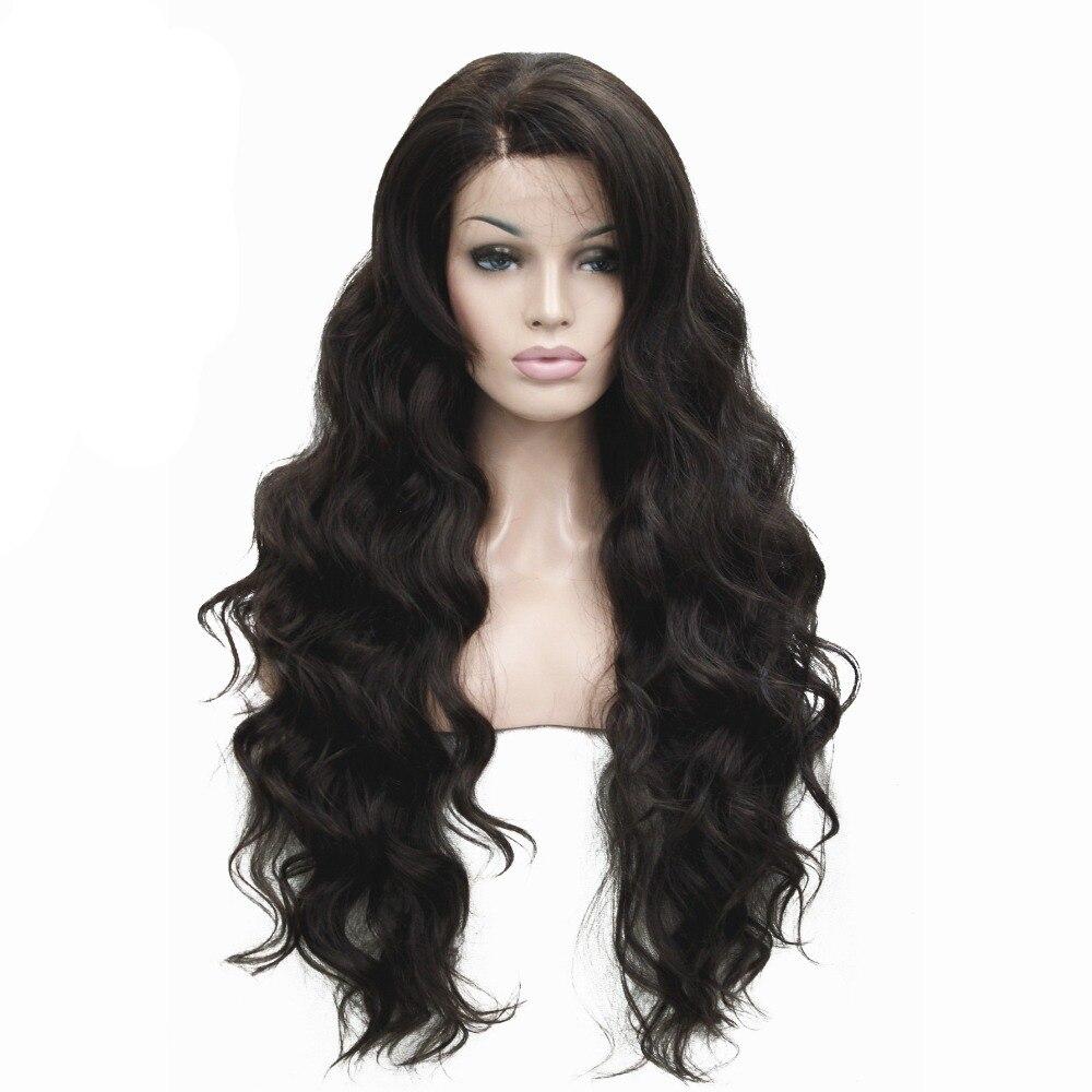 Женские фронтальные кружевные парики, очень длинные волнистые черные/коричневые синтетические парики 30 Дюймов, 5 цветов, StrongBeauty