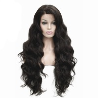 Women's Front Lace Wigs Very Long Wavy Black/Brown 30 inches Synthetic Wig 5 Color StrongBeauty
