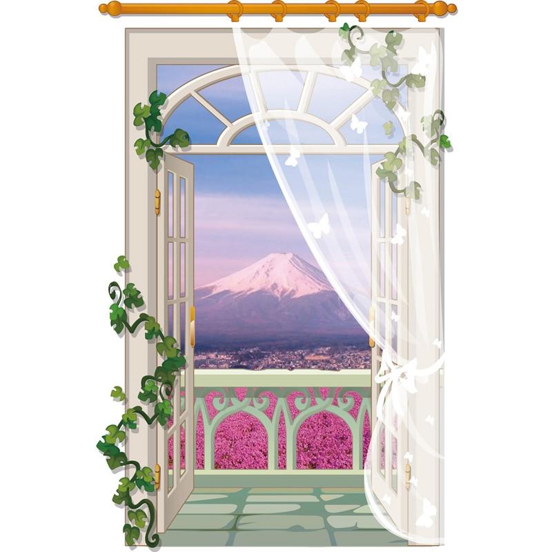 3d Landschaft Wandaufkleber Fuji Mountain View Windows Stikers Fr Wand Dekoration Sofa Wohnzimmer Aufkleber Tapete
