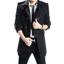 Trench coat Men's Winter Long Double Breasted Wool Thick Solid Color Warm Slim Stand Collar High Quality Urban Wool Blend Coat novel style stand collar double breasted slimming solid color long sleeves blazer for men