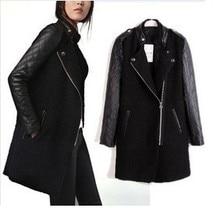 New PU Leather women Jacket Black Lamb Stitching Windcoat Overcoat Sleeve Patchwork collar Coatsplicing