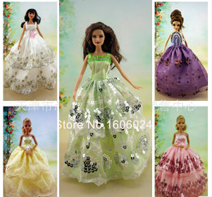 50Pcs/lot Wholesale Cheap Price  Dolls Wedding Dress Beautiful Elegant Dresses Cloth Evening Dresses For Girl Dolls