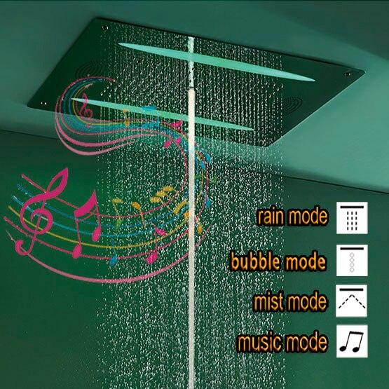 Роскошные Насадки для душа светодиодный квадрат потолка SUS304 нержавеющей Ванная комната код аксессуары Музыка FM радио и Bluetooth верхний душ
