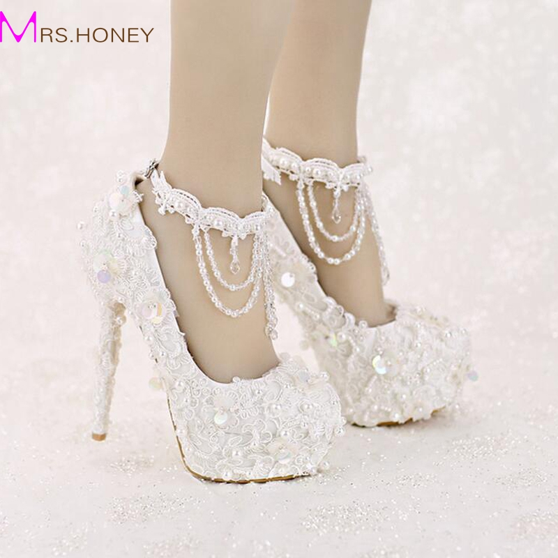 Sweet White Bride Shoes High Heel Platform Lace Strap font b Dress b font Shoes font