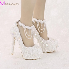 White Bride Shoes High Heel Platform Lace Strap Sequined with Beautiful Ankle Straps