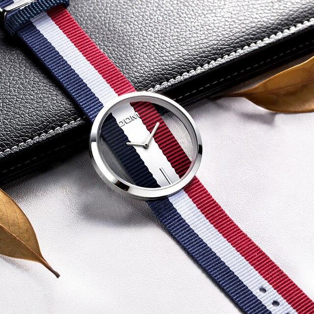 Delle Donne della vigilanza DOM marchio di lusso di Modo Casual al quarzo Design Unico Alla Moda Hollow scheletro orologi di sport di Nylon Della Signora orologi da polso