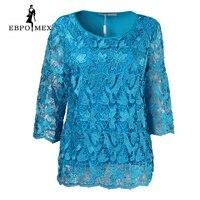 Moda pembe büyük boy kadın dantel dekoratif desen yaz Rahat sıcak stil Tees tops kadınlar tops Üç Çeyrek tops