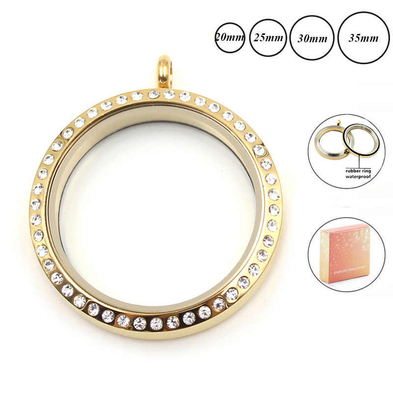 Wholesale waterproof locket 20mm 30mm 35mm gold 316L stainless steel twist floating locket pendant with crystals