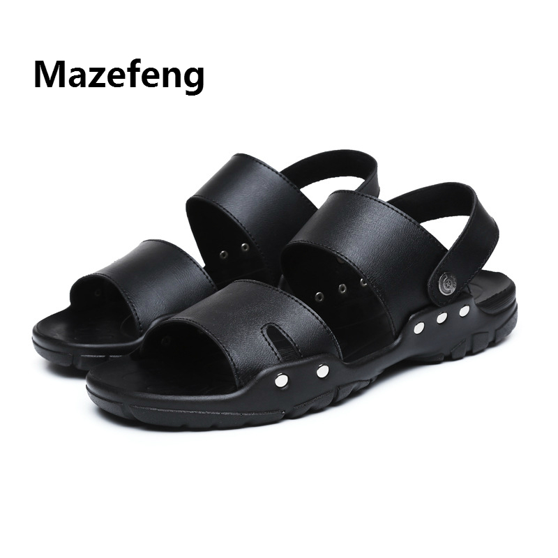 Mazefeng 2019 Summer Shoes High Quality Men Sandals Slip-on Leather Beach Mens Slippers Platform Black Male Sandals Rubber Shoes