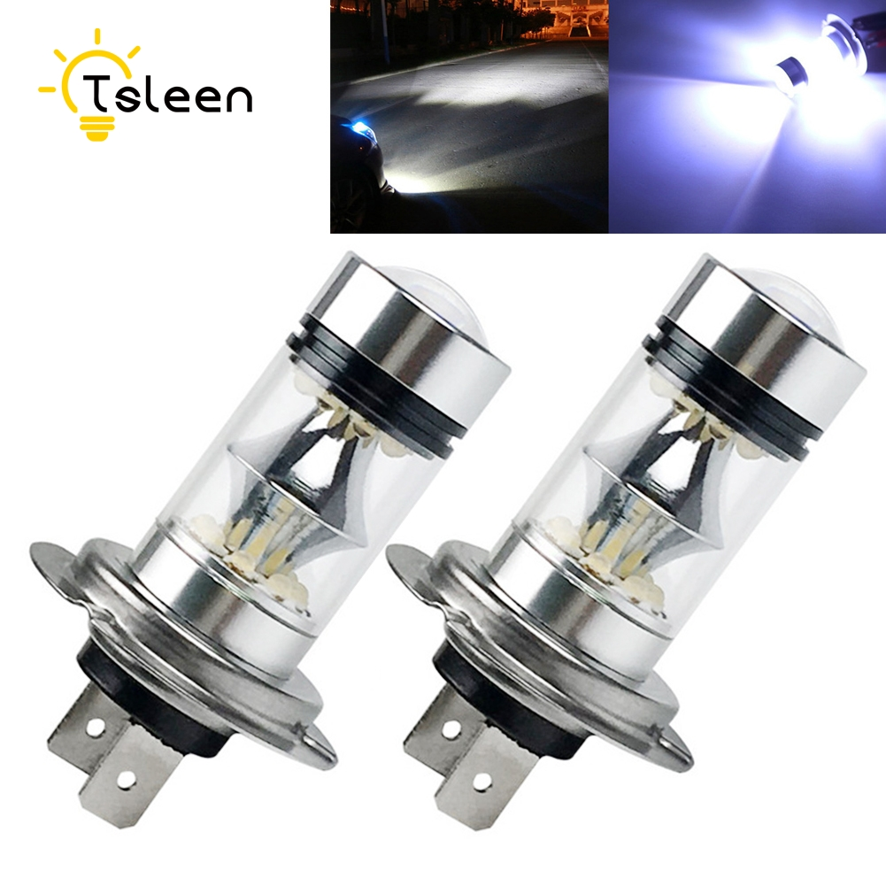2Pcs H7 LED Lamp Super Bright Car Fog Lights 12V-24V 6000K White Car Driving DRL Daytime Running Light Auto Led H7 Bulb 1000LM auto super bright 3w white eagle eye daytime running fog light lamp bulbs 12v lights car light auto car styling oc 25