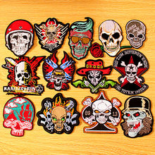 DIY Punk Skull Patch Iron On Patches Clothes Embroidered For Clothing Embroidery Biker Badges