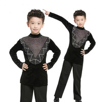 2018 New Black Long Sleeve Tops Latin Shirt Boys Latin Dance Costume For Boys Dance Wear