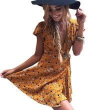 Chino tradicional Cheongsam Mujeres Mini vestido Beach Yellow Skirt