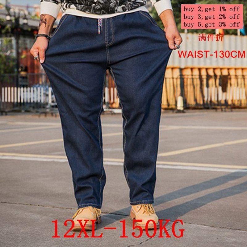 7b1a3c6aaae Большие размеры мужские джинсы 10XL 12XL брюки деловые офисные брюки с  высокой талией стрейч прямые 8XL