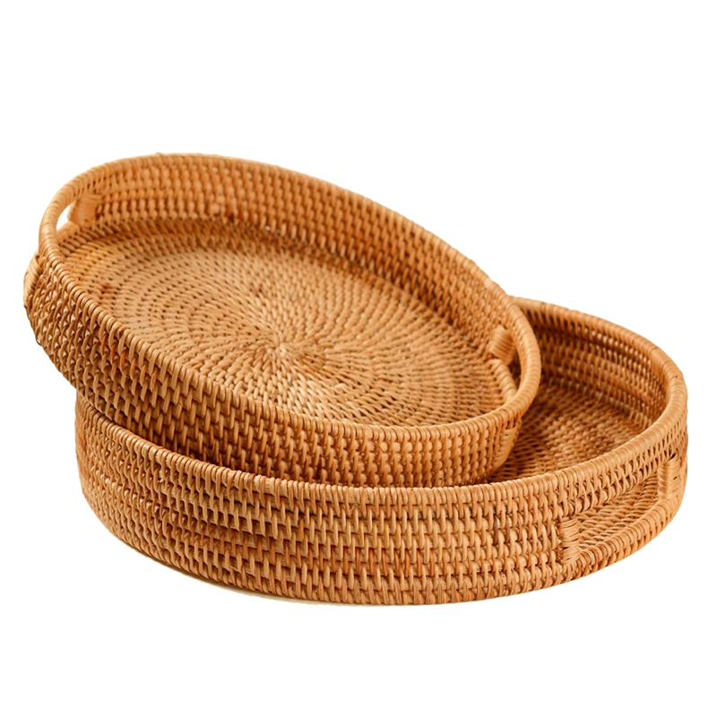 Practical Rattan Handwoven Round High Wall Severing Tray Food Storage Platters Plate over Handles for Breakfast Drinks Snack