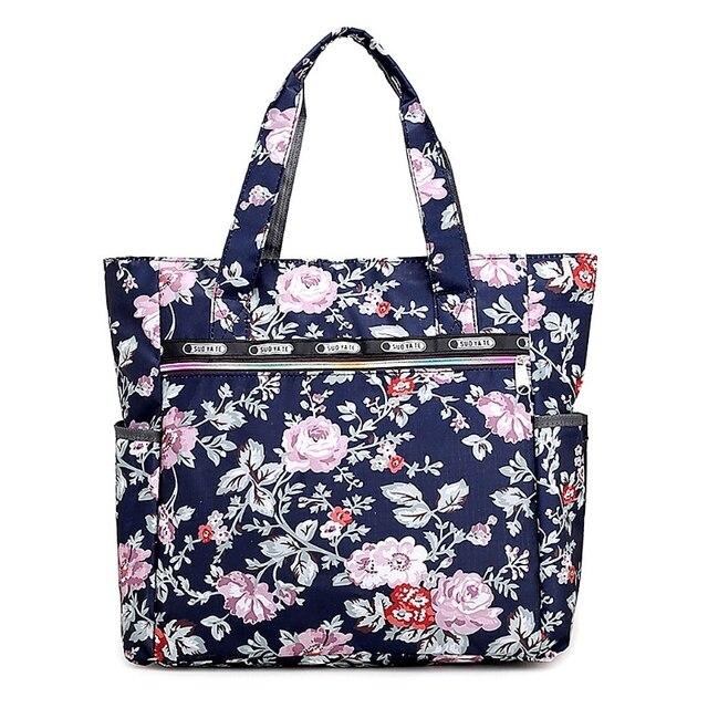 Women Print Flower Nylon Tote Per Handbag Capacity Shoulder Bag Zipper Beach Bags