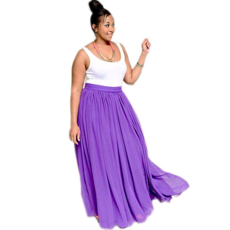Faldas de mujer color púrpura claro talla grande cintura Imperio una línea  hasta el suelo Maxi 3cf4926bbe61