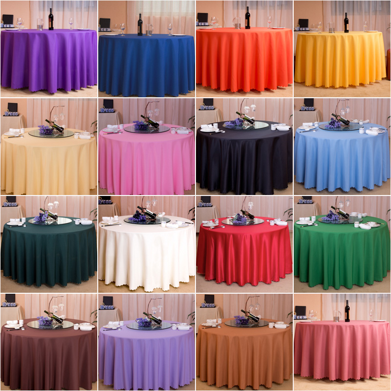Elegant 100% Double Stitched Polyester Round Tablecloth Dining Table Cloth For  Hotel Office Wedding Home Decoration In Solid Colors