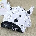 2016 весной и летом детский шляпа сетка колпачок Бенн рога kitty бейсбольная кепка крышки фланца мужской и женский ребенка шляпа солнца 46-50 см