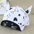2016 spring and summer children's hat mesh cap Benn horns kitty baseball cap flange cover male and female baby sun hat 46-50cm