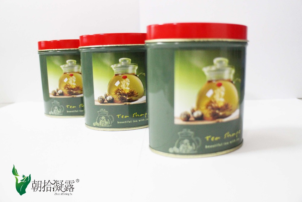 Tinned packed, blooming flower tea, art tea made of jasmine &marigold, 5pcs different types packed free shipping 2015 yr new tea premium jasmine pearl tea jasmine longzhu flower tea green tea 250g bag vacuum packaging