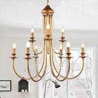 Современные Винтаж Дизайн Кристалл E14 древнее золото Led люстра светильники для дома Лофт лестницы Гостиная Спальня лампа